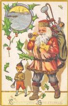 xms100493 - Santa Claus Post Card Old Antique Vintage Christmas Postcard