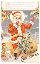 xms100497 - Santa Claus Post Card Old Antique Vintage Christmas Postcard