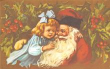 xms100505 - Santa Claus Post Card Old Antique Vintage Christmas Postcard
