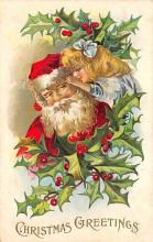 xms100511 - Santa Claus Post Card Old Antique Vintage Christmas Postcard