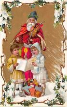 xms100513 - Santa Claus Post Card Old Antique Vintage Christmas Postcard