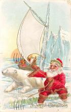 xms100519 - Santa Claus Post Card Old Antique Vintage Christmas Postcard