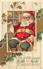 xms100525 - Santa Claus Post Card Old Antique Vintage Christmas Postcard