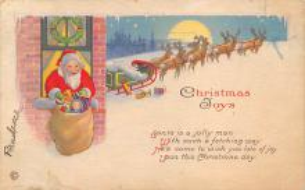 xms100539 - Santa Claus Post Card Old Antique Vintage Christmas Postcard