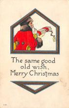 xms100543 - Santa Claus Post Card Old Antique Vintage Christmas Postcard