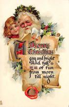 xms100551 - Santa Claus Post Card Old Antique Vintage Christmas Postcard