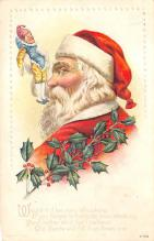 xms100555 - Santa Claus Post Card Old Antique Vintage Christmas Postcard