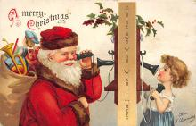 xms100559 - Santa Claus Post Card Old Antique Vintage Christmas Postcard