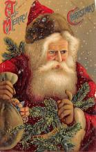 xms100563 - Santa Claus Post Card Old Antique Vintage Christmas Postcard