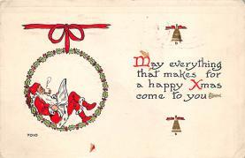 xms100573 - Santa Claus Post Card Old Antique Vintage Christmas Postcard