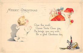 xms100587 - Santa Claus Post Card Old Antique Vintage Christmas Postcard