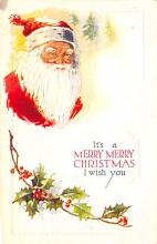 xms100589 - Santa Claus Post Card Old Antique Vintage Christmas Postcard