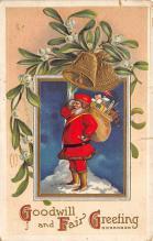 xms100611 - Santa Claus Post Card Old Antique Vintage Christmas Postcard