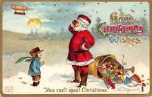xms100617 - Santa Claus Post Card Old Antique Vintage Christmas Postcard