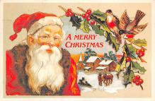 xms100623 - Santa Claus Post Card Old Antique Vintage Christmas Postcard