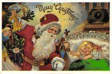 xms100635 - Santa Claus Post Card Old Antique Vintage Christmas Postcard