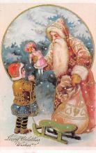 xms100637 - Santa Claus Post Card Old Antique Vintage Christmas Postcard