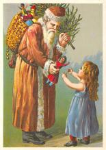 xms100645 - Santa Claus Post Card Old Antique Vintage Christmas Postcard