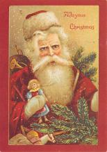 xms100651 - Santa Claus Post Card Old Antique Vintage Christmas Postcard
