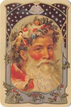 xms100659 - Santa Claus Post Card Old Antique Vintage Christmas Postcard