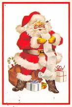 xms100665 - Santa Claus Post Card Old Antique Vintage Christmas Postcard