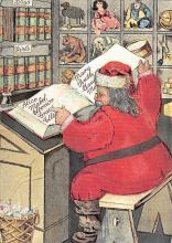 xms100671 - Santa Claus Post Card Old Antique Vintage Christmas Postcard