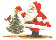 xms100677 - Santa Claus Post Card Old Antique Vintage Christmas Postcard