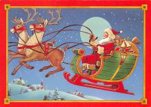 xms100681 - Santa Claus Post Card Old Antique Vintage Christmas Postcard