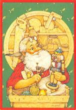 xms100685 - Santa Claus Post Card Old Antique Vintage Christmas Postcard