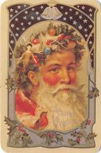 xms100687 - Santa Claus Post Card Old Antique Vintage Christmas Postcard
