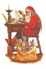 xms100689 - Santa Claus Post Card Old Antique Vintage Christmas Postcard