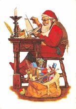 xms100695 - Santa Claus Post Card Old Antique Vintage Christmas Postcard