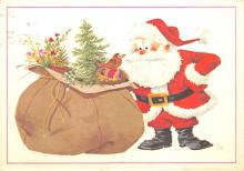 xms100703 - Santa Claus Post Card Old Antique Vintage Christmas Postcard