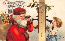 xms100705 - Santa Claus Post Card Old Antique Vintage Christmas Postcard