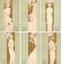 xrt096257 - Set of 6 cards Artist Raphael Kirchner Old Vintage Postcards