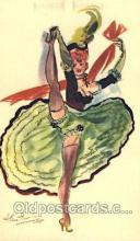 xrt105001 - Artist Signed Alice Huertas, French Cancan Postcard Postcards