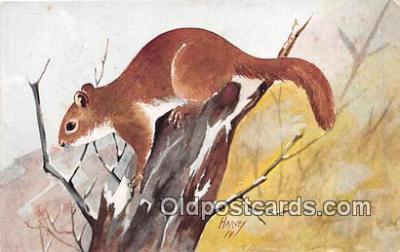 yan020023 - Artist Harvey Red Squirrel Postcard Post Card